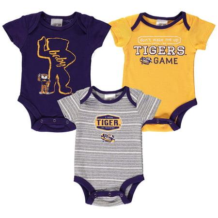 Newborn & Infant Russell Purple LSU Tigers Three-Pack Bodysuit Set