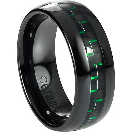 Daxx Mens Ceramic Green Carbon Fiber Inlay Ring