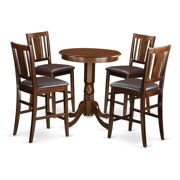 East West Furniture EDBU5-MAH-W Counter Height Dining Table & 4 Kitchen Chairs, Eden