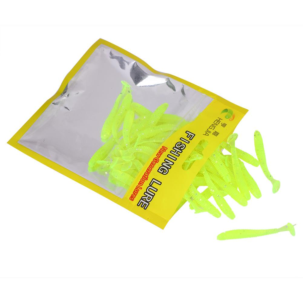 50PCS 5cm Soft Plastic Fishing Lures T-Tail Grub Worm Bait Fish Tackle Accessory