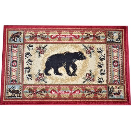 Dean Black And Red Bear Lodge Cabin Rustic Area Rug Size
