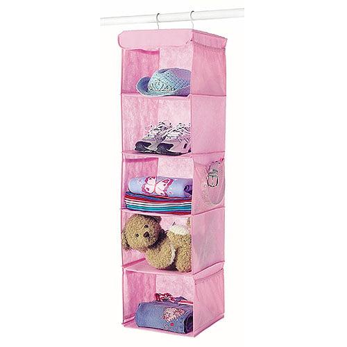 Whitmor 5-Shelf Hanging Accessory Rack, Pink