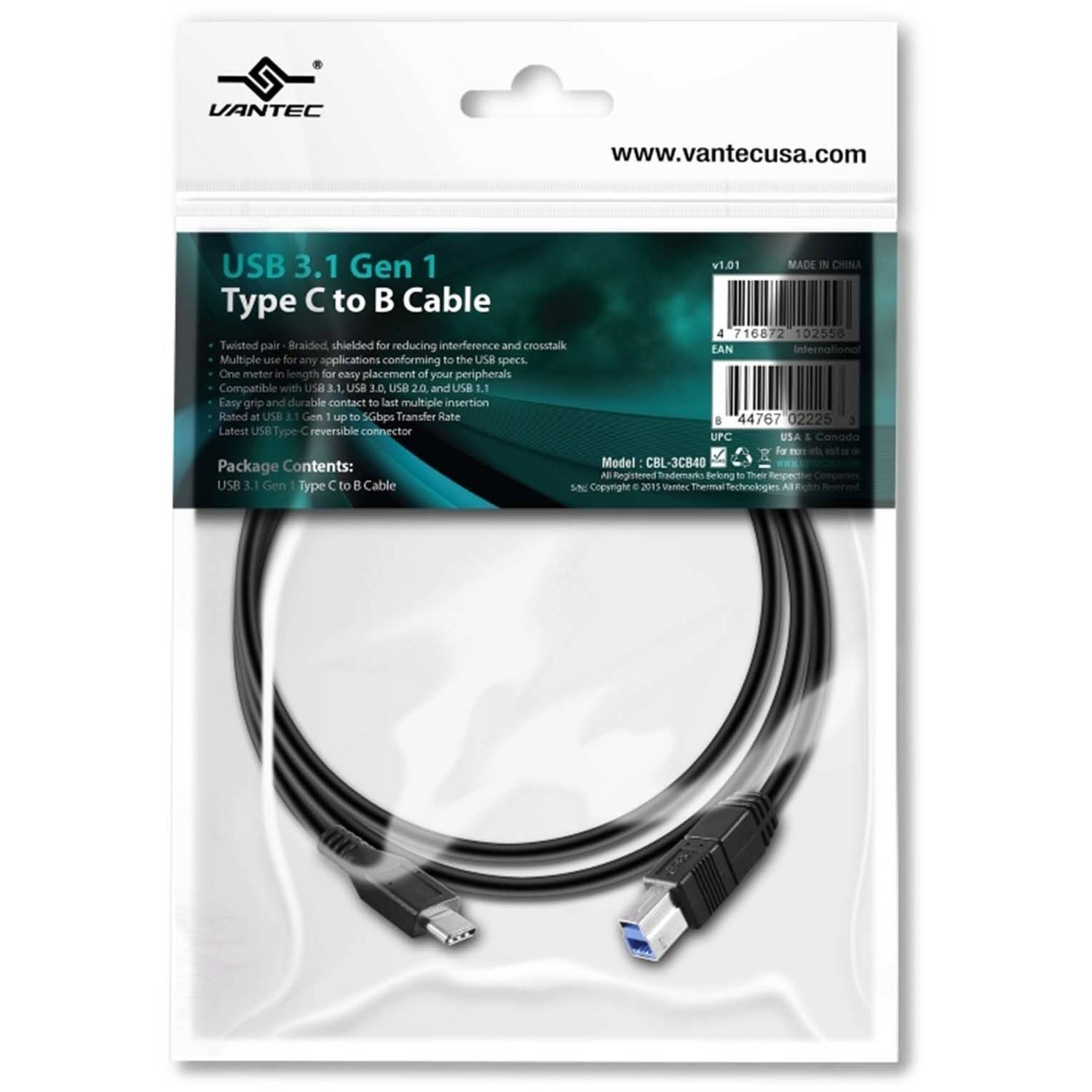 Vantec CBL-3CB40 USB 3.1 Type C to USB-B Cable, Black