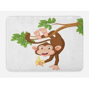 Cartoon Bath Mat, Funny Monkey Hanging from Tree and Holding Banana Jungle Animals Theme Print, Non-Slip Plush Mat Bathroom Kitchen Laundry Room Decor, 29.5 X 17.5 Inches, Chocolate White, Ambesonne