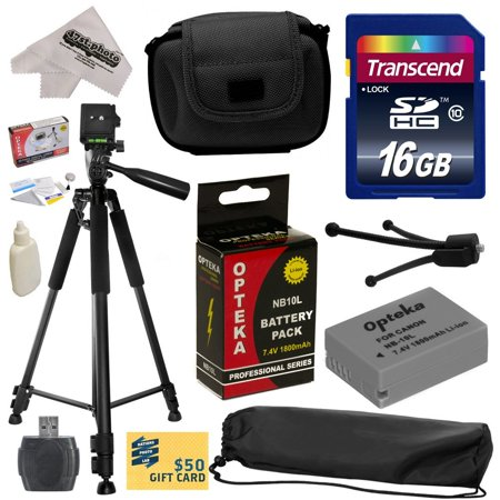 Best Value Kit for Canon PowerShot G1X G16 G15 SX50HS SX40HS SX50 SX40 HS Digital Camera with 16GB SDHC Card, Reader, Opteka NB-10L 1800mAh Battery, Case, Tripod, Cleaning
