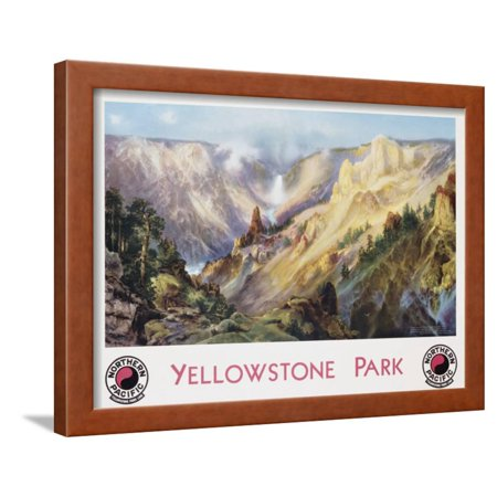 Northern Promotions Framed Art (Yellowstone Park Northern Pacific Railway Poster after Thomas Moran Framed Print Wall Art )