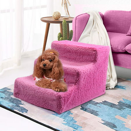 Pet Stairs 3 Steps Indoor Dog Cat Steps Removable Washable Pets Ramp Ladder Pink (Pet Stairs Dog Ramp)