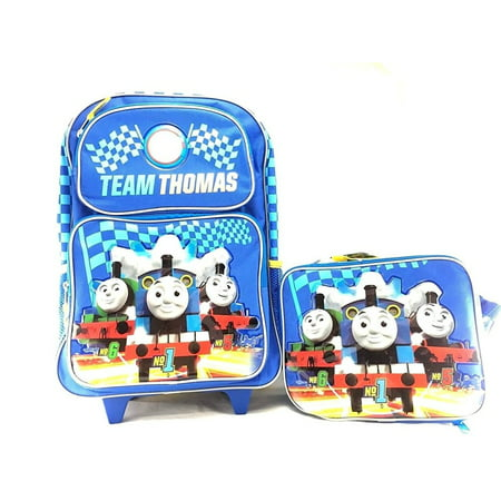 "Team Thomas the Train Engine No1 16"" Canvas School Rolling Backpack W/Lunch Bag"