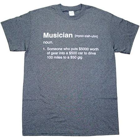 Definition of a Musician Funny Mens Adult T-shirt Heather Black (Medium) (Musician Adult T-shirt)