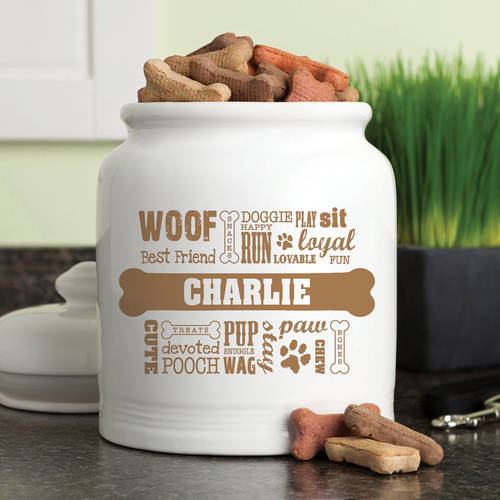 Personalized Dog Words Treat Jar Available In Multiple Colors