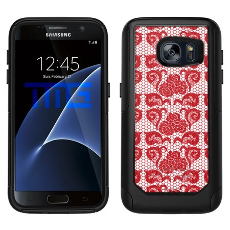 OtterBox Commuter Samsung Galaxy S7 Case - Stunning Hot Red Rose Swirl Lace OtterBox Case