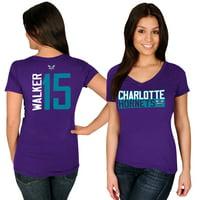 Kemba Walker Charlotte Hornets Majestic Women's Name & Number V-Neck T-Shirt - Purple