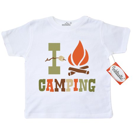 Inktastic I Love Camping Toddler T-Shirt Campfire Marshmallow Smore Heart Camper Scouting Roasting Marshmallows Camp Pinkinkartkids Fun Humor Funny Tees. Gift Child Preschooler Kid Clothing Apparel