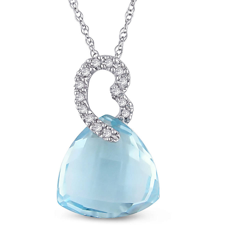 "Tangelo 8-1 2 Carat T.G.W. Trillion-Cut Sky Blue Topaz and Diamond-Accent 10kt White Gold Heart Pendant, 17"" by Tangelo"