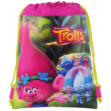 Trolls Dreamworks Hot Pink/Green Drawstring Bag - Cheap Drawstring Bags