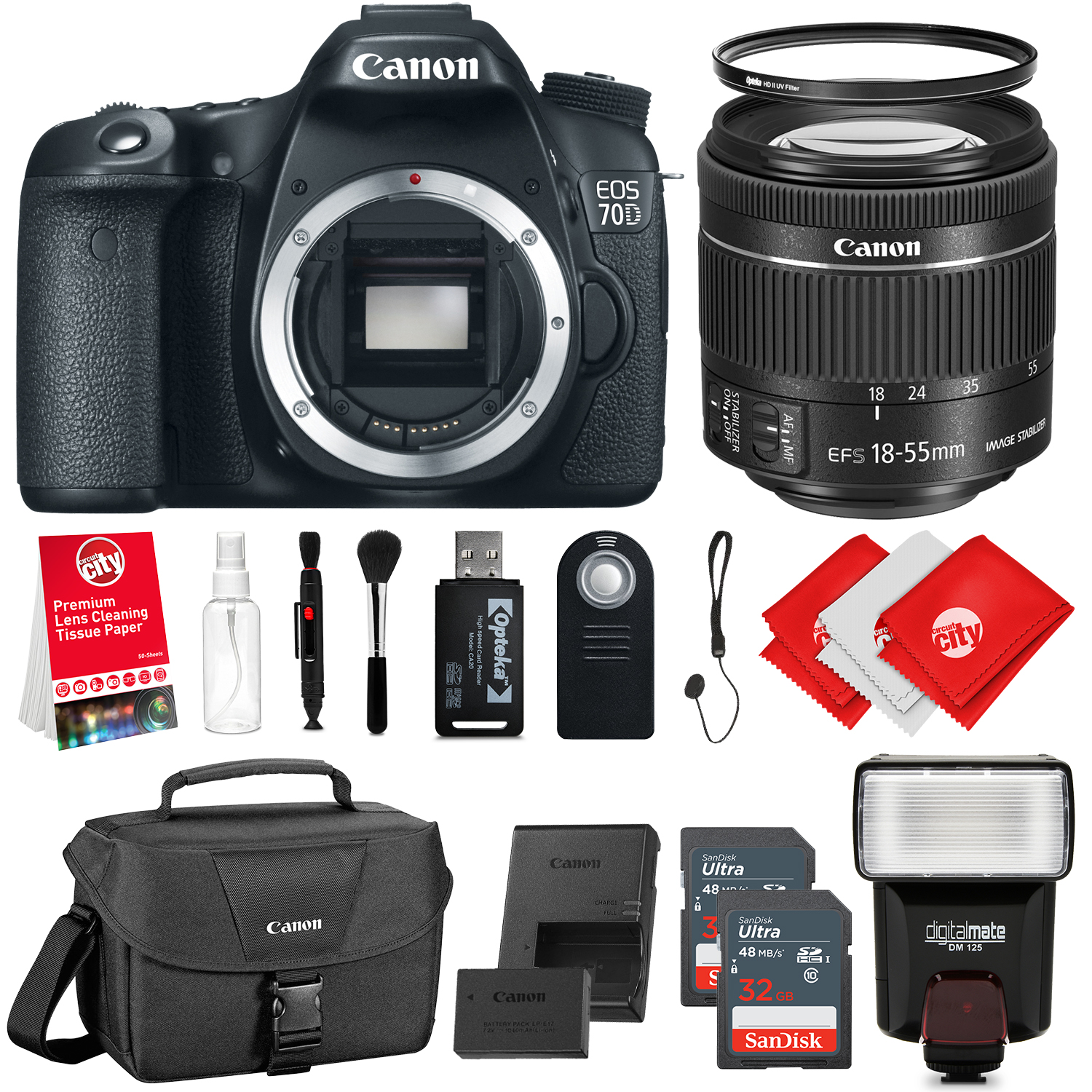 Canon EOS 70D 20.2MP DSLR Camera with 18-55mm STM Lens + ...