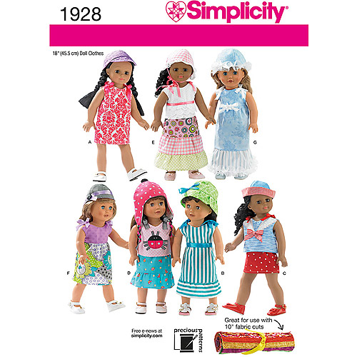 Simplicity Pattern Doll Clothes, One Size