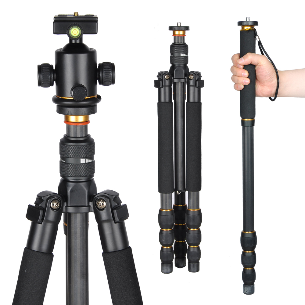 Professional Carbon Fiber Adjustable DSLR Camera Tripod Monopod w/ Ball Head For Travel Video Studio