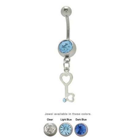 Belly Button Ring Dangling Jeweled Key Hearts