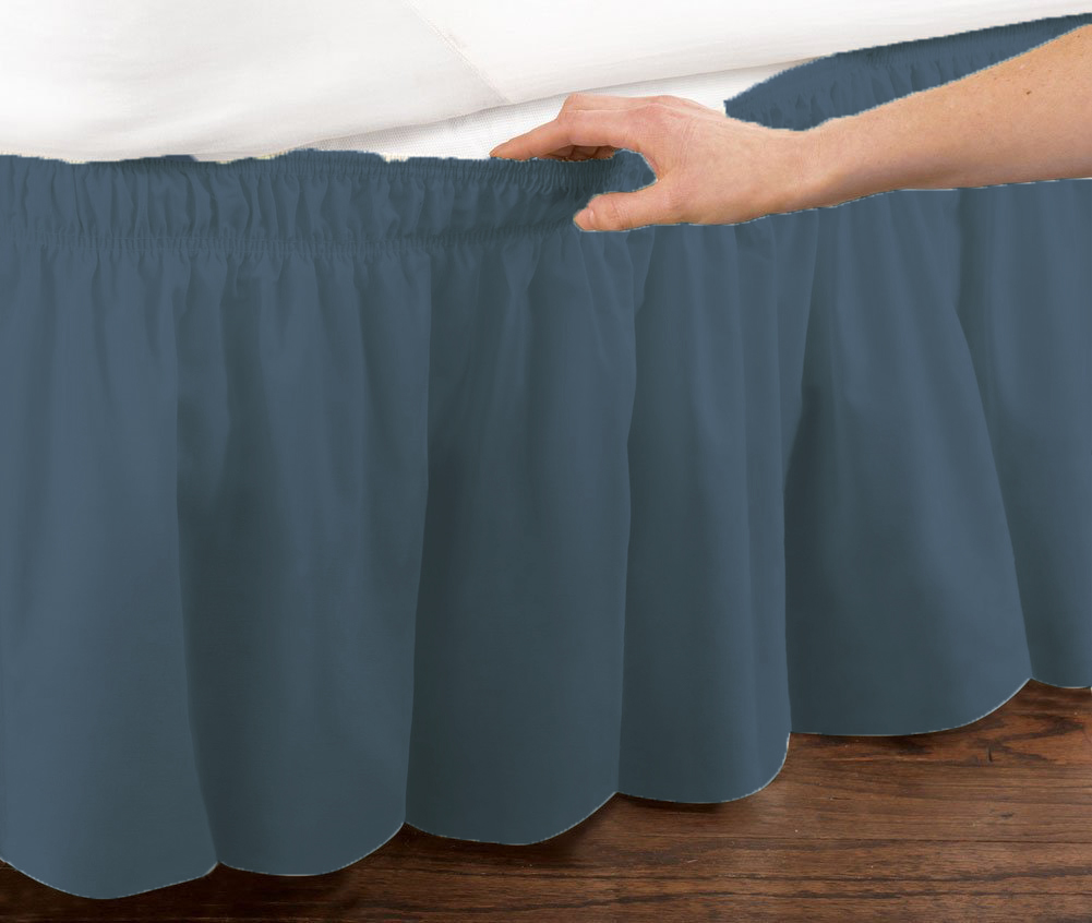 Blue Elastic Ruffled Bedskirt: Wrap Around Easy Fit, Queen or King Size by