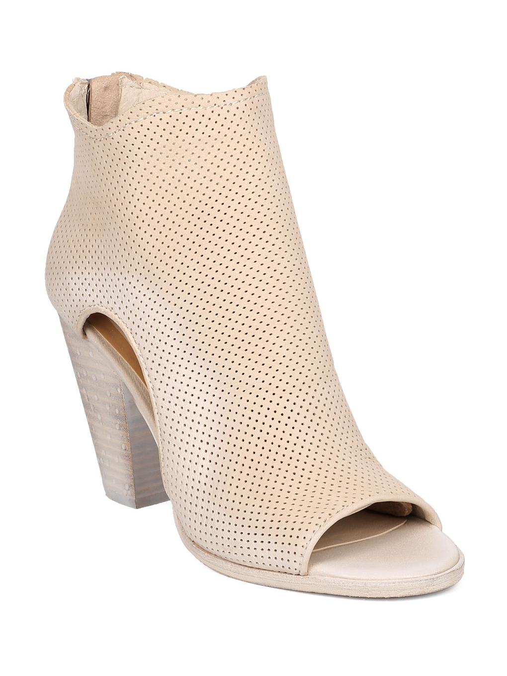 Women Nubuck Perforated Chunky Heel Bootie - Casual, Versatile, Dressy - Cutout Ankle Boot - Harem By Dolce Vita
