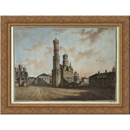 Ivan The Great Bell Tower And Chudov Monastery In The Kremlin 24X18 Gold Ornate Wood Framed Canvas Art By Fyodor Alekseyev