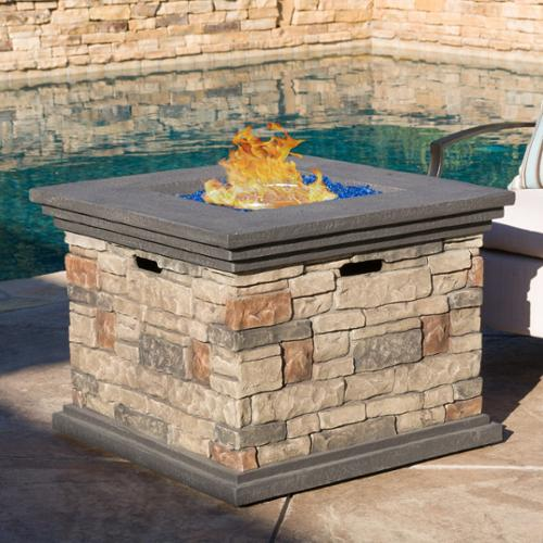 Christopher Knight Home Chesney 32-inch Outdoor Square Propane Firepit with Lava Rocks by Firepits