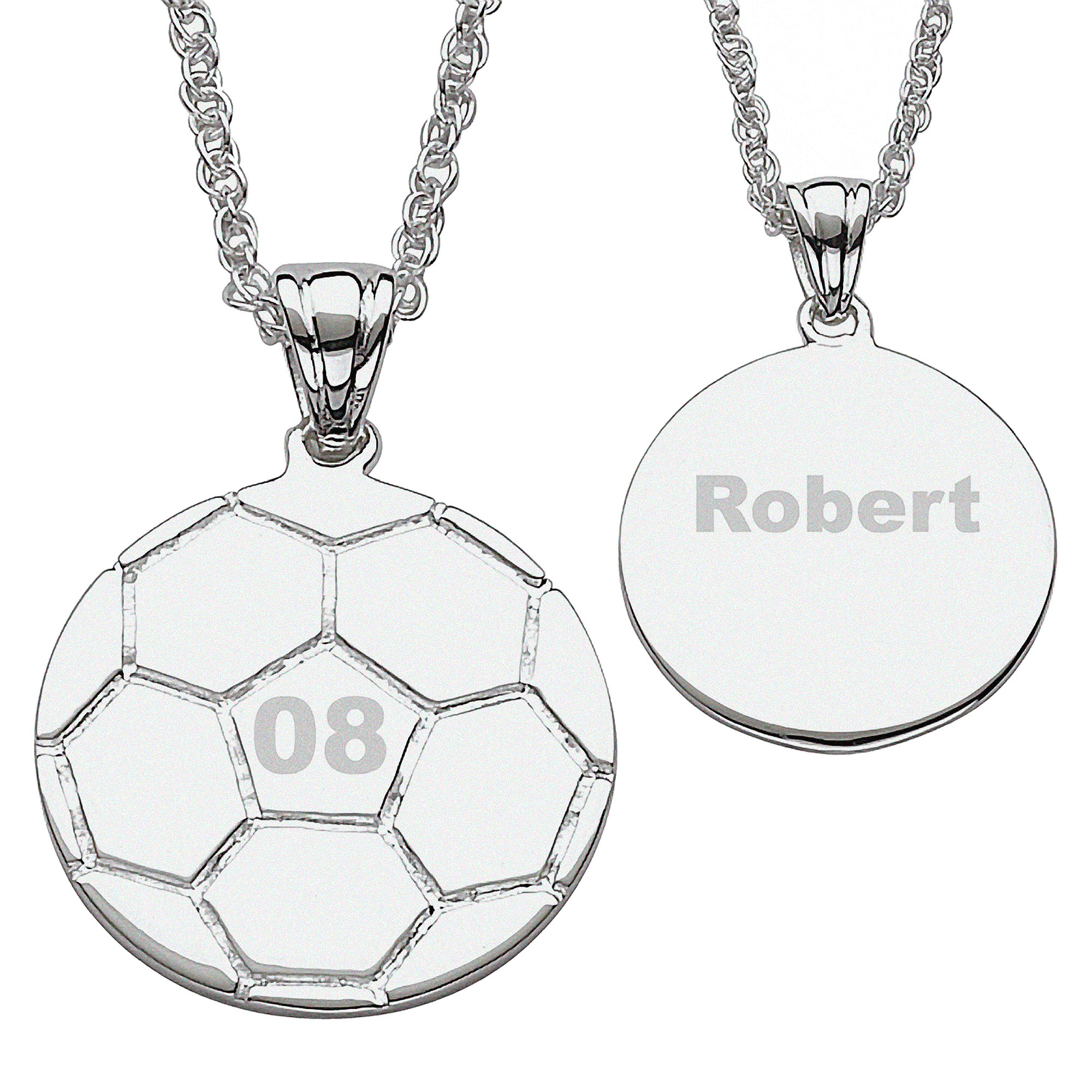 Personalized Silver-Tone Soccer Necklace