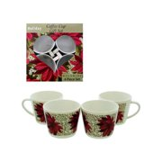 Bulk Buys SC014-15 Coffee Cup Set Poinsettia Design