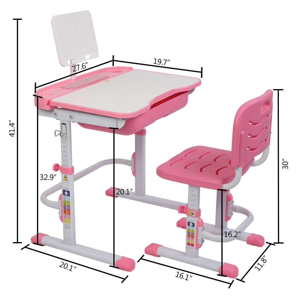 WEGSD Children Desk and Chair Set with Tilt Desktop Adjustable Height School Study Table with Metal Hook and Storage Drawer for Boys Girls USA Stock