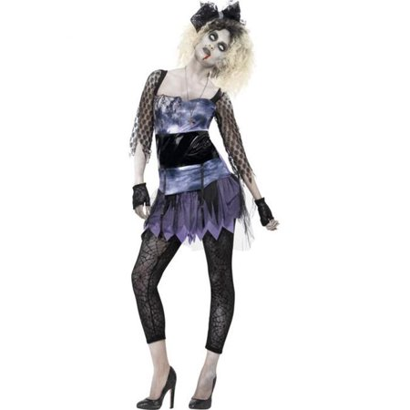 Smiffys 44367L Black Zombie 80s Wild Child Costume with Dress Leggings Necklace Bow & Gloves - (80's Costume Ideas With Leggings)