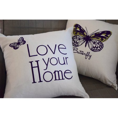 Two Tone Single (Debage Inc. Spring Single Tone Butterfly Throw Pillow (Set of 2) )