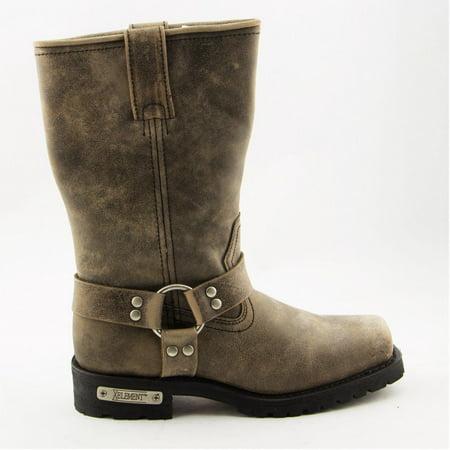 Harness Footwear (Xelement Footwear Xelement LU1604 Men's 13in Stone Wash Brown Leather Harness Motorcycle Boots Brown 9 )