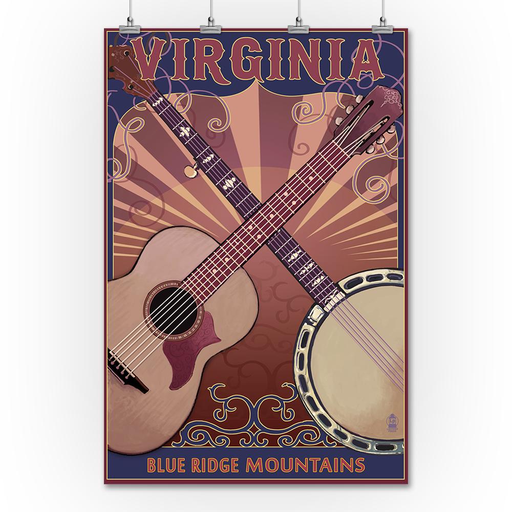Blue Ridge Mountains - Banjo & Guitar - Lantern Press Pos...