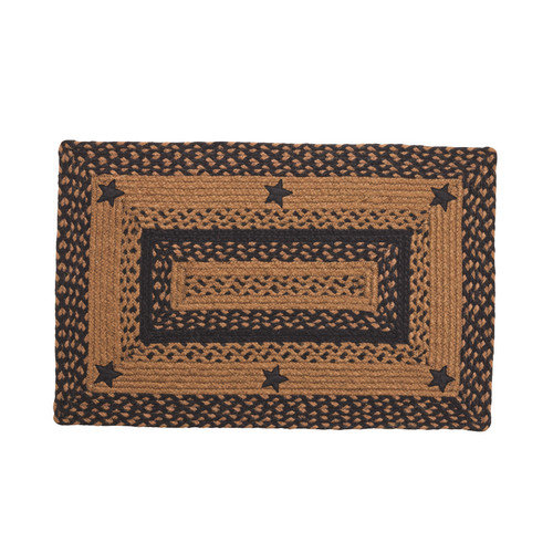 Black and Tan Braided Rug with Stars Primitive Country Oval Rectangle 20x30 5x8 by IHF Limited