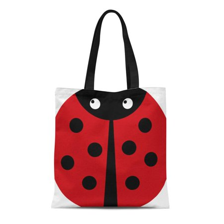 SIDONKU Canvas Tote Bag Child Red Ladybug Round Cure Kid Black Insect Reusable Handbag Shoulder Grocery Shopping Bags ()