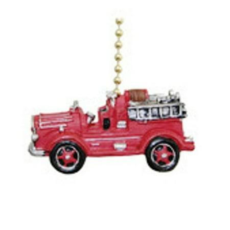 Vintage Fire Truck Fireman Ladder Firefighter Fan Pull (Vintage Fan)