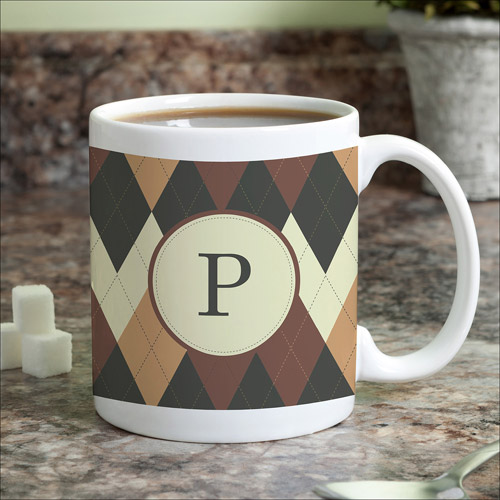 Personalized Argyle Coffee Mug
