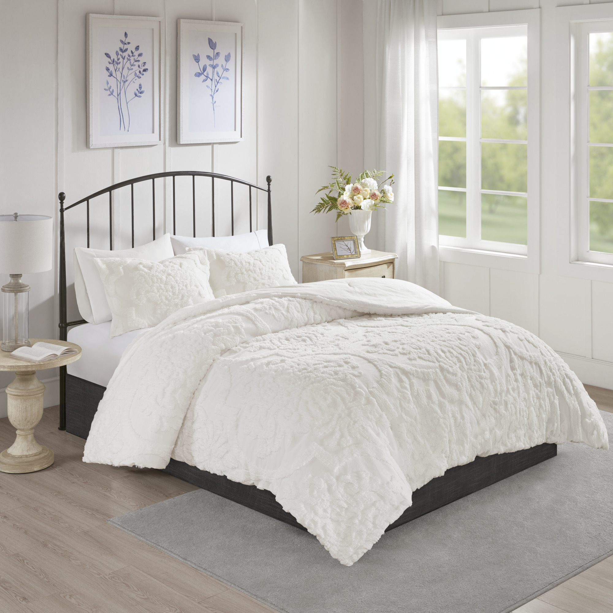 Home Essence Eugenia 3PC Tufted Cotton Chenille Damask Comforter Set