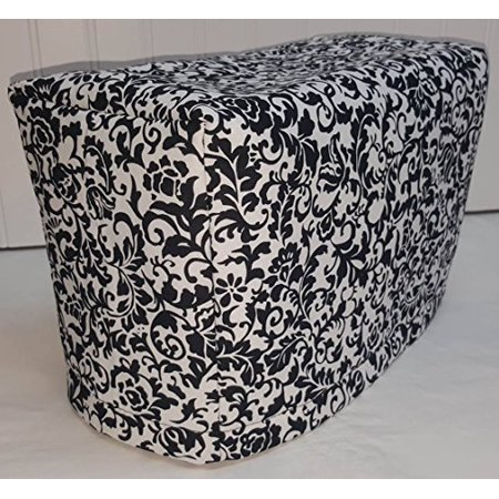 Toaster Cover Patterns - 2 or 4 Slice Toaster Cover (2 Slice, Black & White Floral Damask)