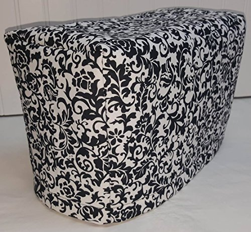 2 or 4 Slice Toaster Cover (2 Slice, Black & White Floral Damask)