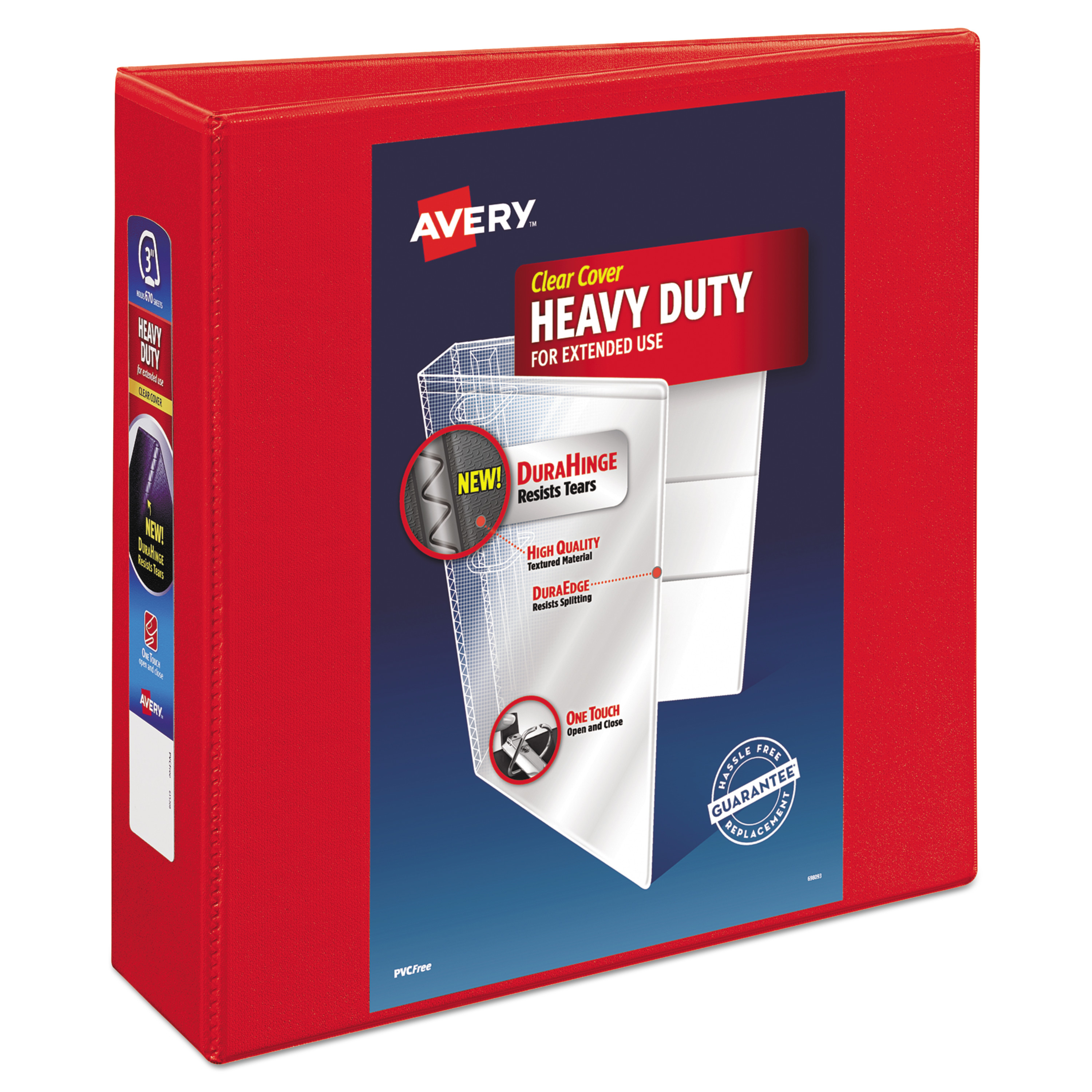"""Avery Heavy-Duty View 3 Ring Binder, 3"""" One Touch EZD Ring"""