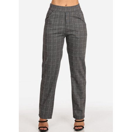 Womens Juniors Women's Junior Ladies Stylish Going Out Business Office Career Wear Houndstooth And Plaid Print Brown Multicolor Straight Leg Dress Pants 10562W