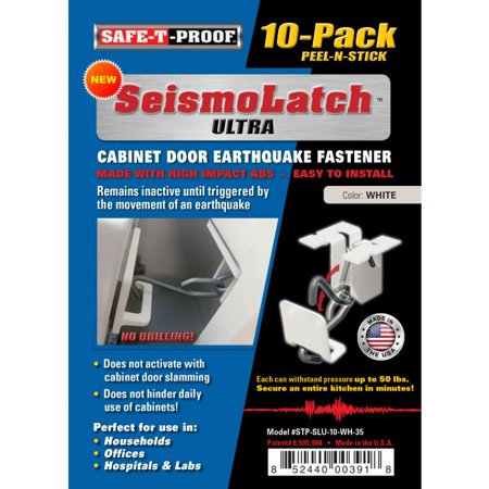 NEW SEISMO-LATCH ULTRA-EARTHQUAKE ACTIVATED CABINET LATCH-10 PACK-WHITE.  NO TOOLS NEEDED FOR