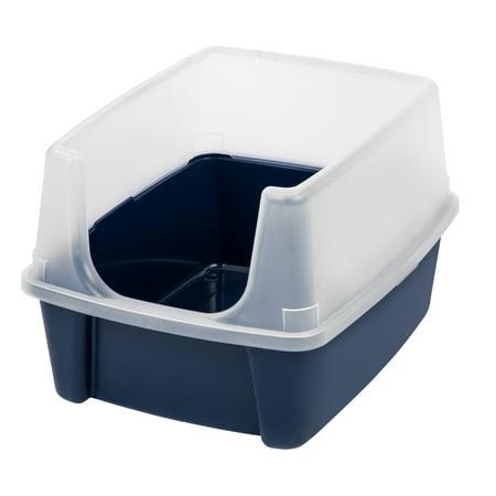 IRIS USA Open-Top Cat Litter Box With Shield, Regular, Navy