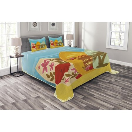Tiki Bar Bedspread Set, Hawaiian Beach Surfboards on the Sand Exotic Summer Vacation Sport Vintage Style, Decorative Quilted Coverlet Set with Pillow Shams Included, Multicolor, by (Island Tiki Bar)