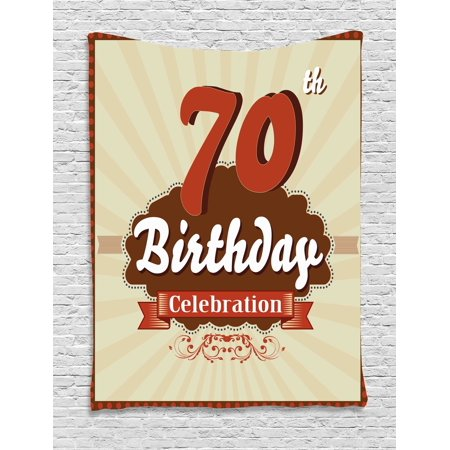 70th Birthday Decorations Tapestry, Vintage Candy Store Inspired 70 Birthday Celebration, Wall Hanging for Bedroom Living Room Dorm Decor, 40W X 60L Inches, Brown and Cinnamon, by Ambesonne