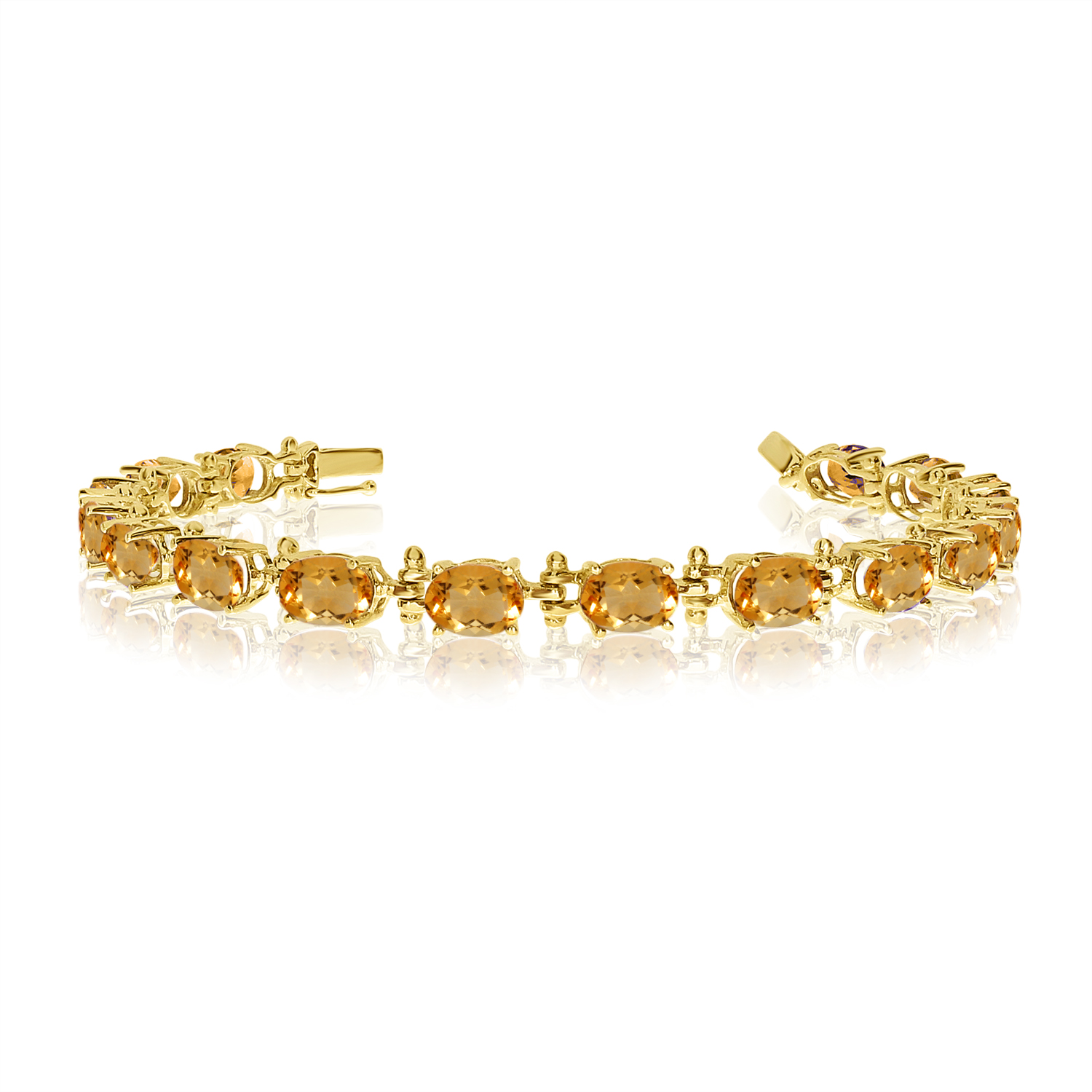 14K Yellow Gold Oval Citrine Tennis Bracelet by