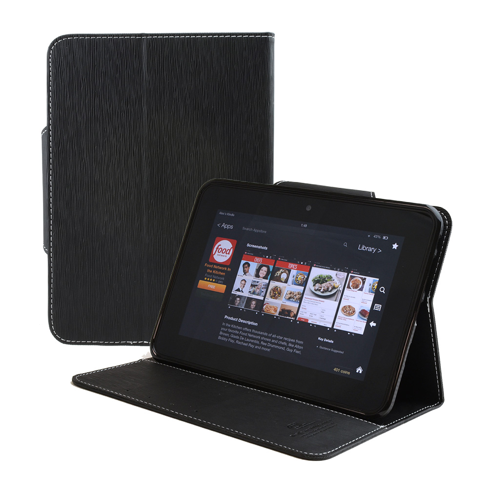 Amazon Kindle Fire HD 7 2012 [Black] CellTo Faux Leather Diary Flip Case w/ ID Slots, Bill Fold, & Magnetic Closure