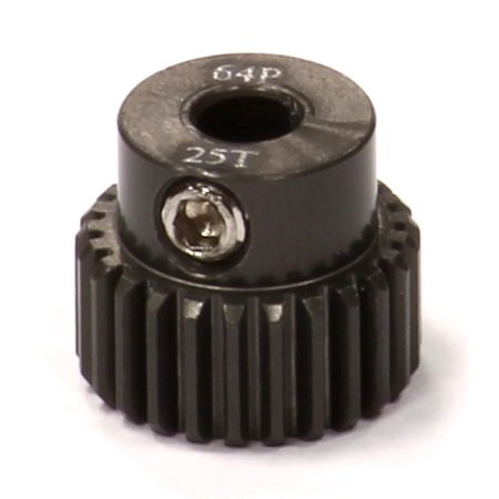 Integy RC Toy Model Hop-ups C24270 Billet Machined Hard Anodized Aluminum 64 Pitch Pinion 25 Teeth for 0.125 Shaft